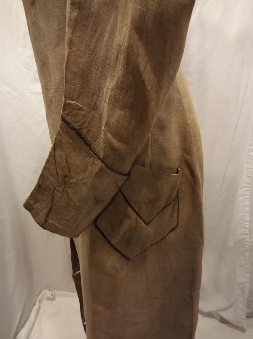 Early Ladies Linen Car Coat, full length, shawl collar - 5