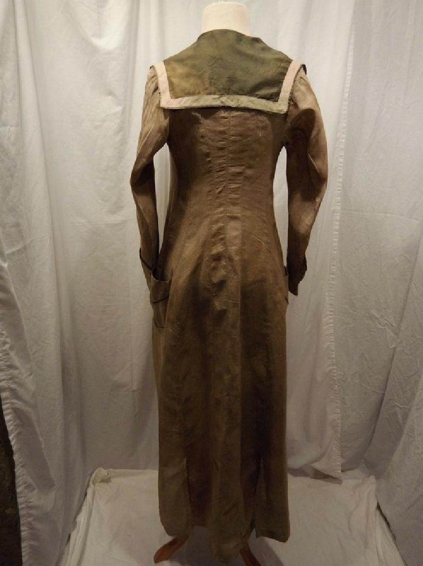 Early Ladies Linen Car Coat, full length, shawl collar - 6