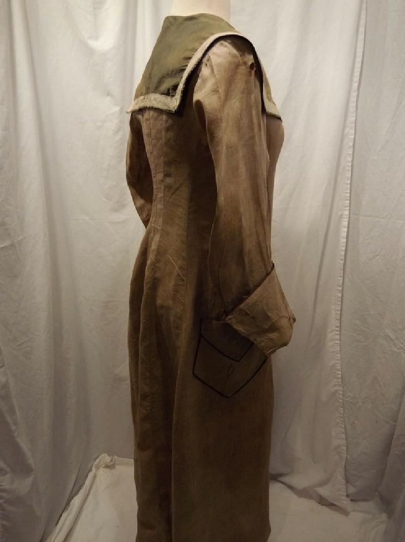 Early Ladies Linen Car Coat, full length, shawl collar - 7
