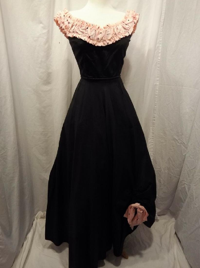 1950's Fit & Flare Black Taffeta full length Gown with