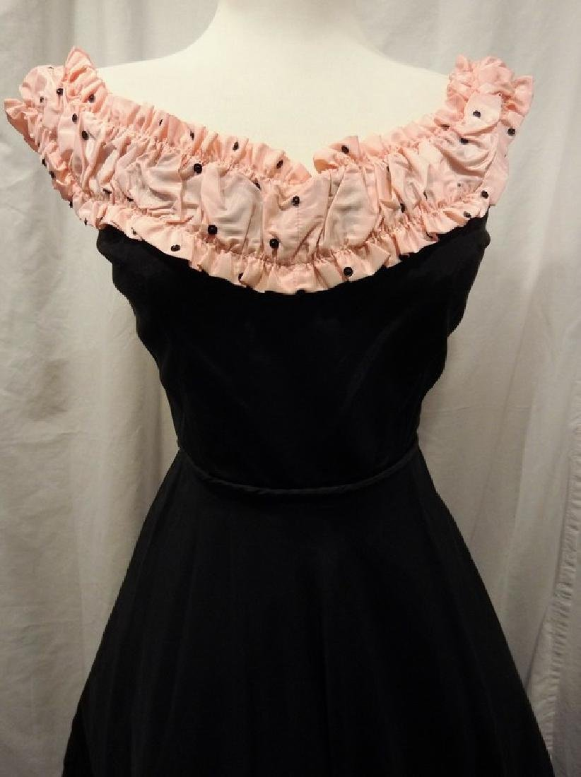 1950's Fit & Flare Black Taffeta full length Gown with - 2