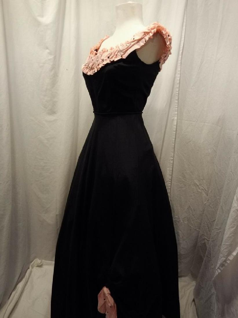 1950's Fit & Flare Black Taffeta full length Gown with - 5