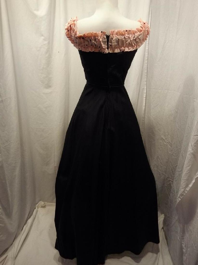 1950's Fit & Flare Black Taffeta full length Gown with - 6
