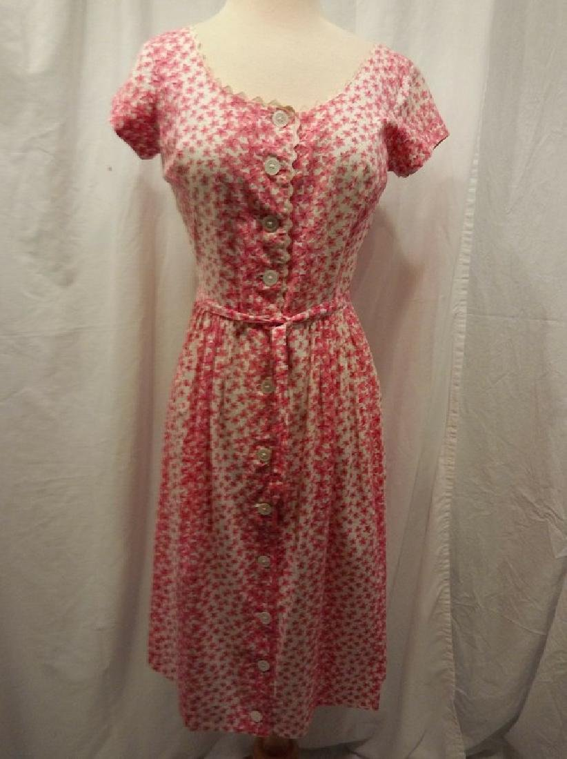 Vintage 1950's Pink & White Floral Cotton Shirt Waist