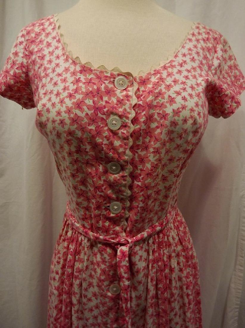 Vintage 1950's Pink & White Floral Cotton Shirt Waist - 2