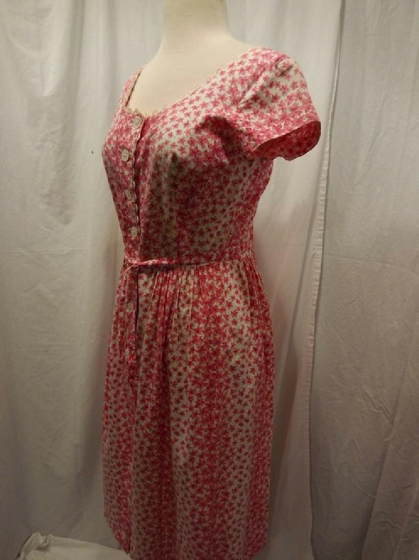 Vintage 1950's Pink & White Floral Cotton Shirt Waist - 3