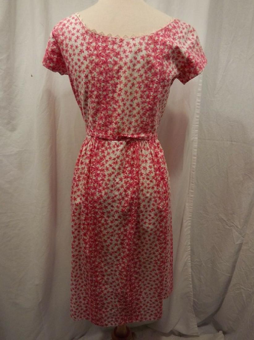 Vintage 1950's Pink & White Floral Cotton Shirt Waist - 4