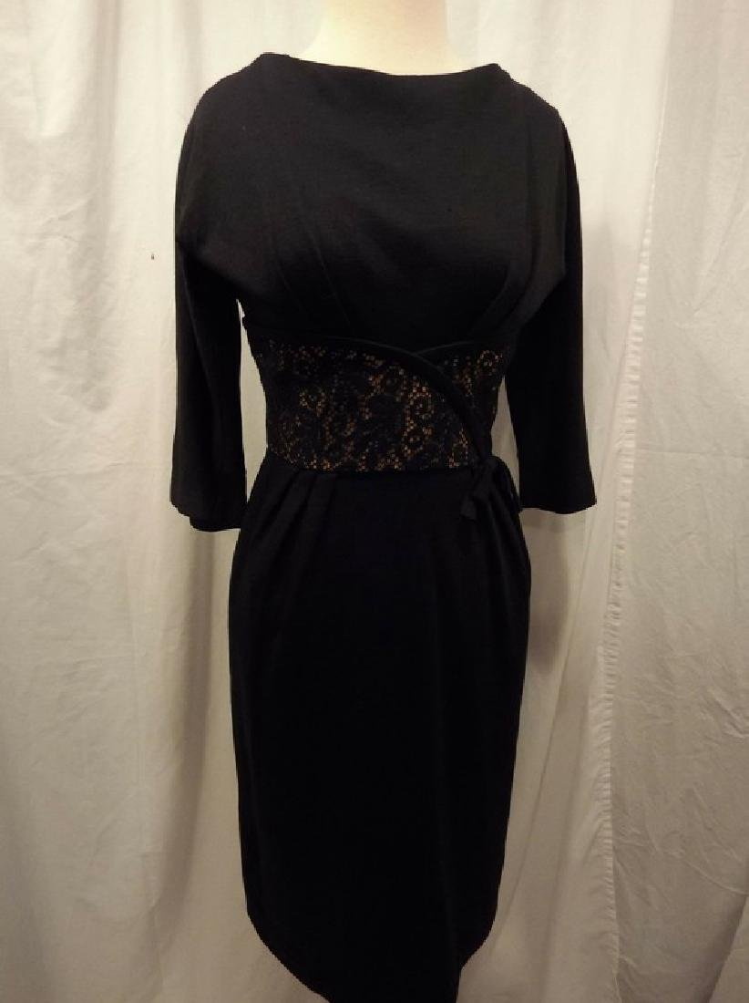 Black Knit Wool Blend Sheath Cocktail Dress with Lace