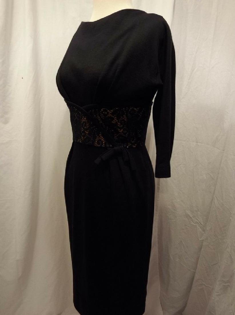 Black Knit Wool Blend Sheath Cocktail Dress with Lace - 3