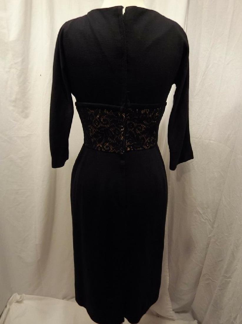 Black Knit Wool Blend Sheath Cocktail Dress with Lace - 5