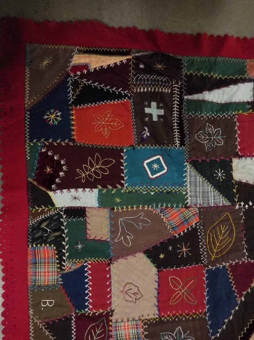 Victorian 1888 Crazy Quilt with decorative felt trim - 2