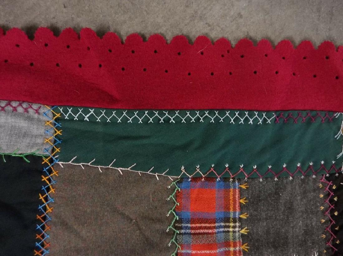 Victorian 1888 Crazy Quilt with decorative felt trim - 3