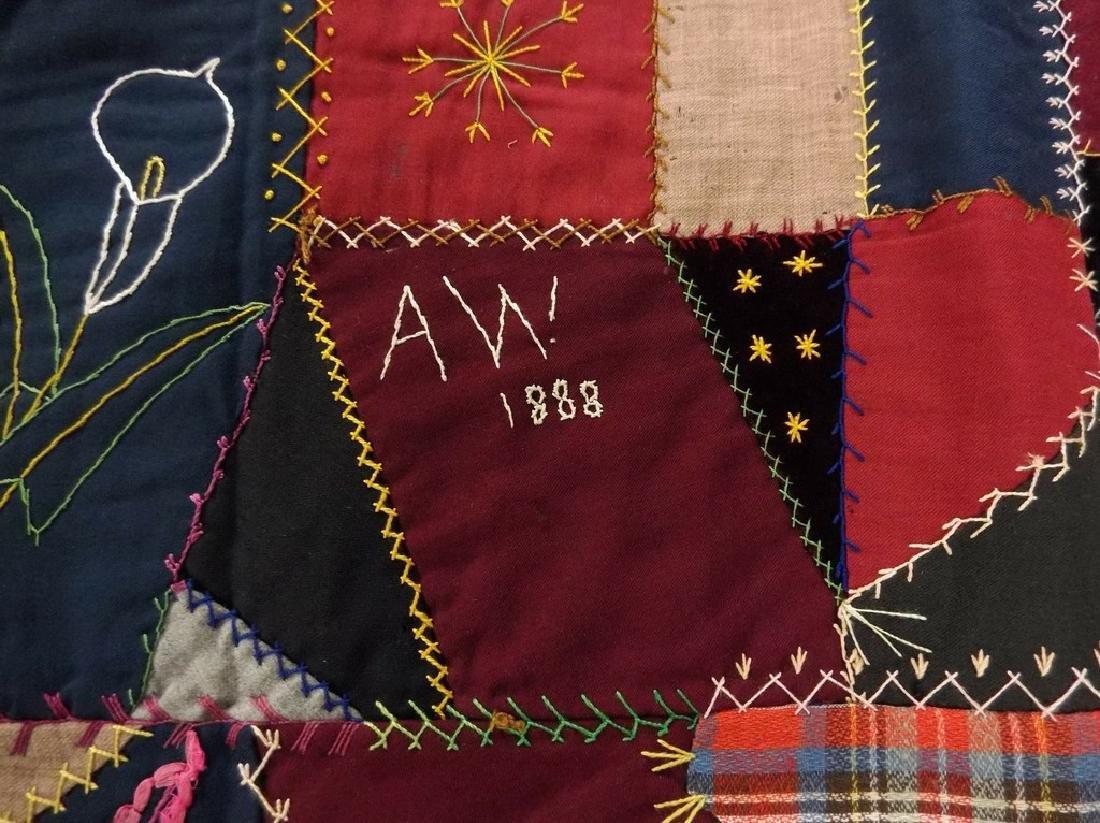 Victorian 1888 Crazy Quilt with decorative felt trim - 4