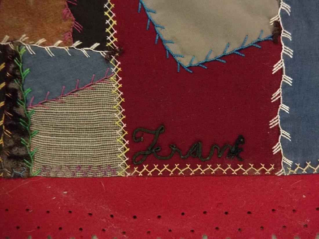 Victorian 1888 Crazy Quilt with decorative felt trim - 6
