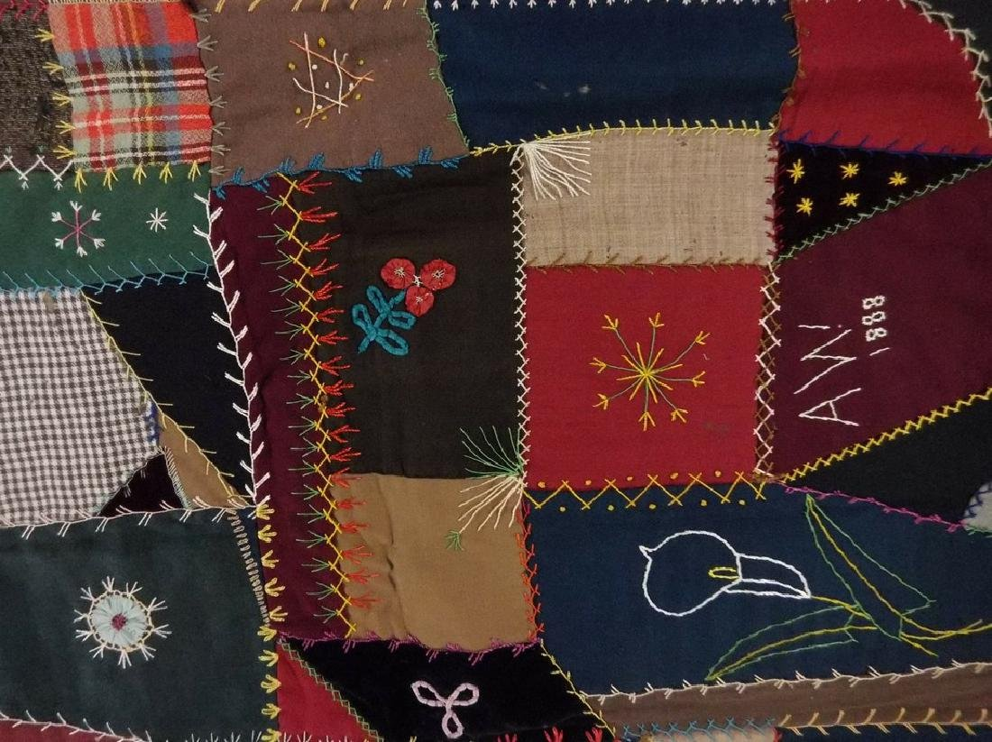 Victorian 1888 Crazy Quilt with decorative felt trim - 7