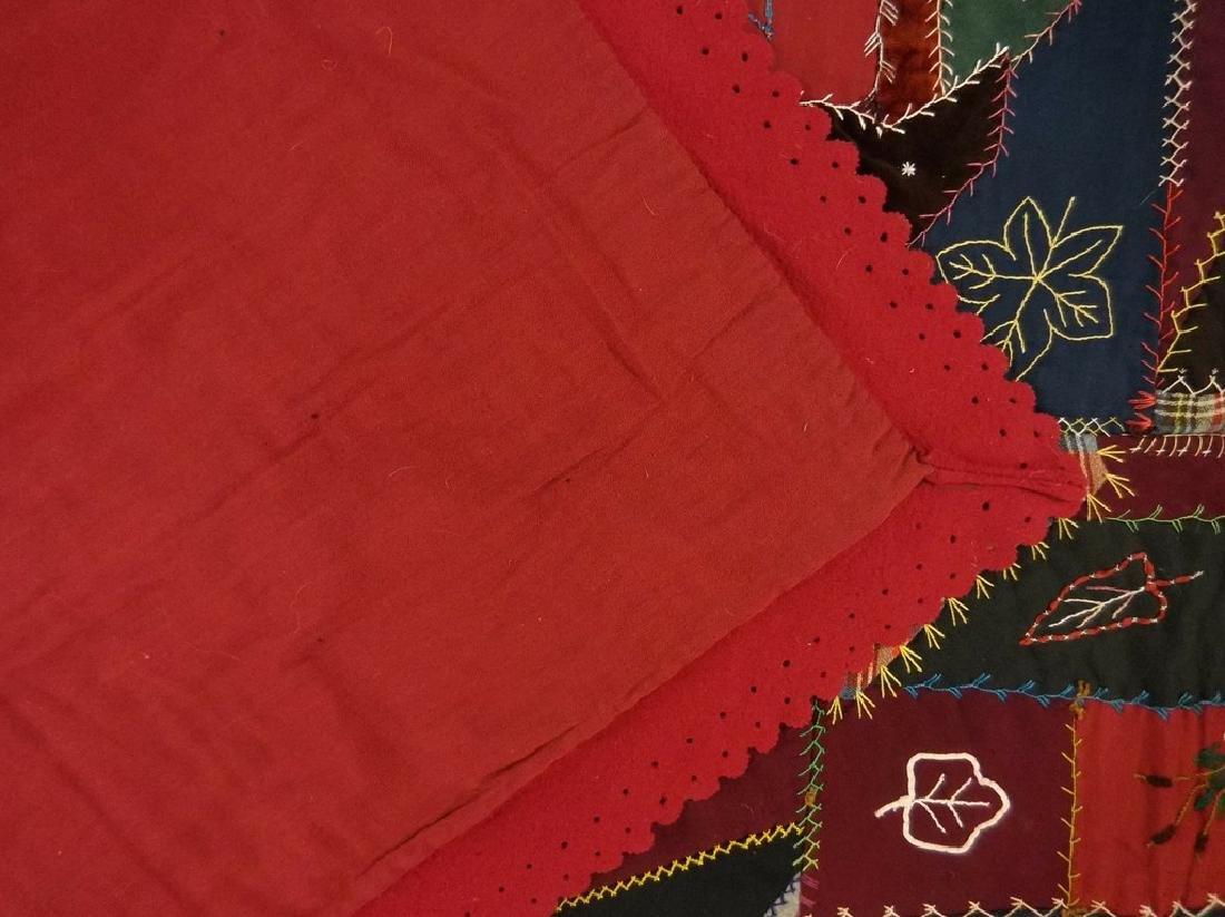 Victorian 1888 Crazy Quilt with decorative felt trim - 8