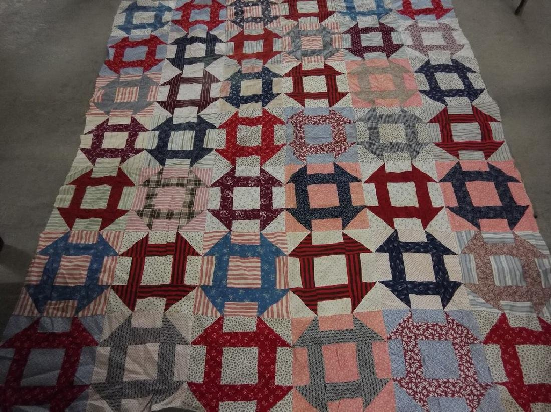 Early Cotton Feed Sack Quilt Top, Hand Stitched