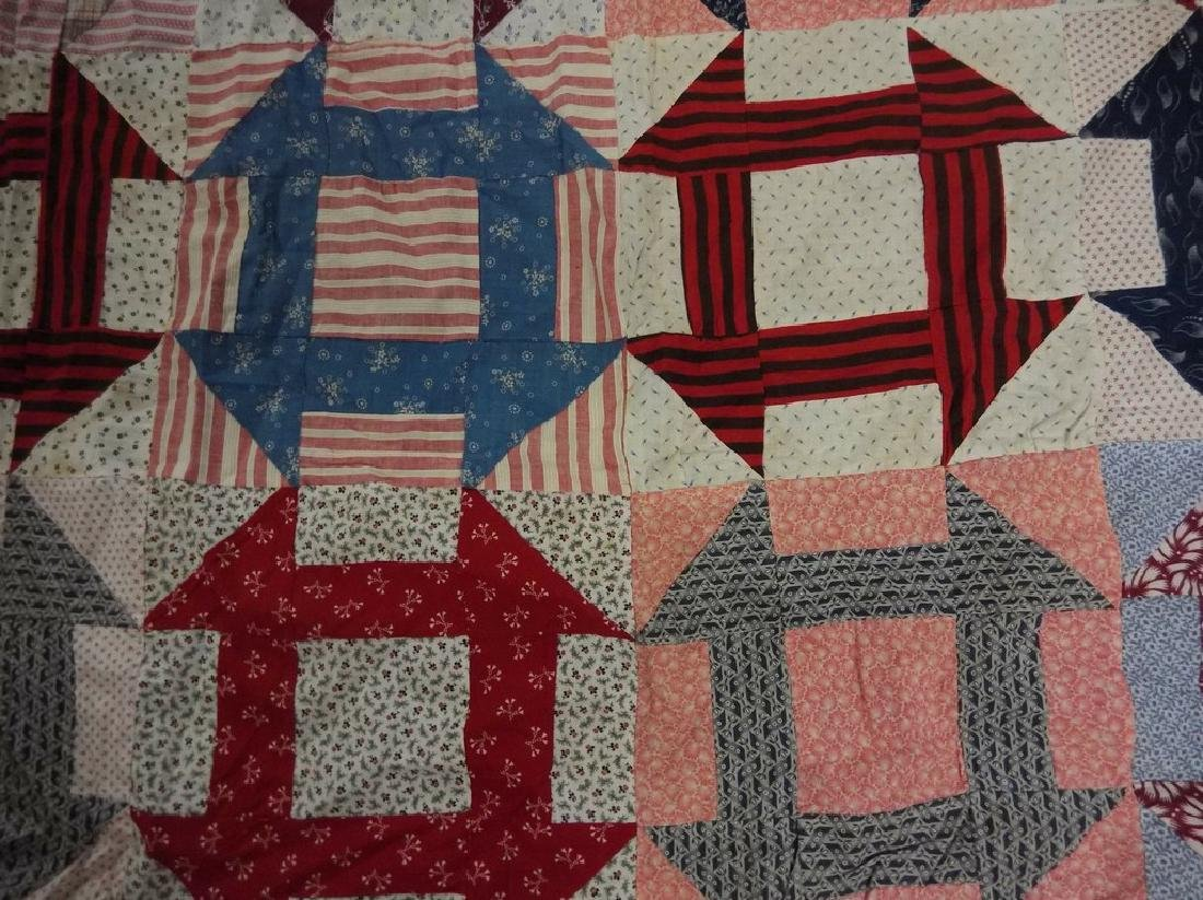 Early Cotton Feed Sack Quilt Top, Hand Stitched - 2