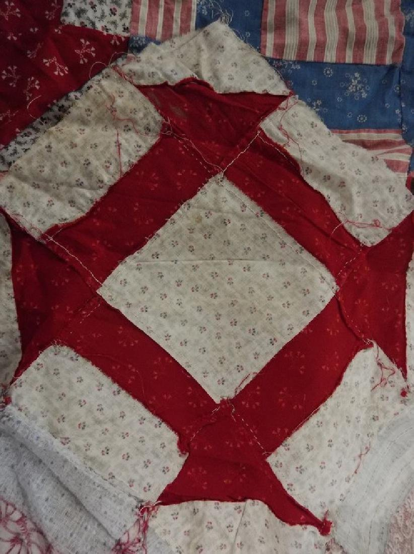 Early Cotton Feed Sack Quilt Top, Hand Stitched - 4