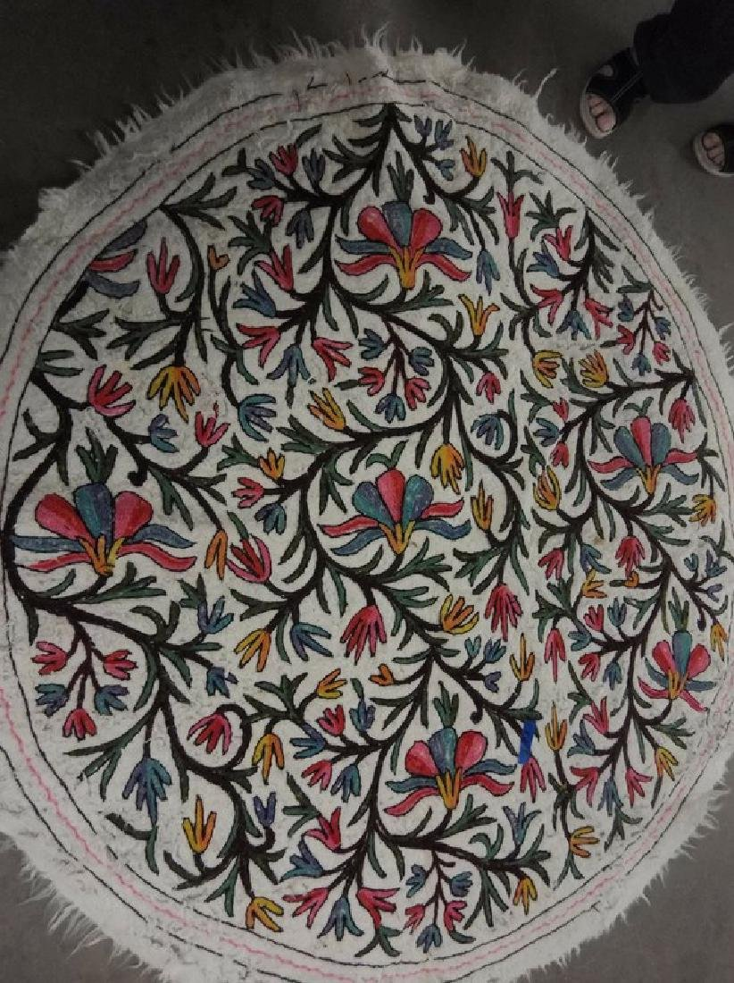 Turkish Hand Embroidered Round 63 inch Rug