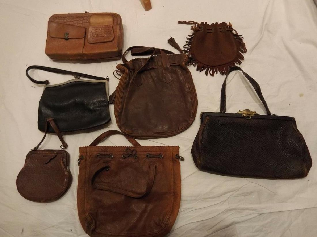 lot of Early Leather Purses/Hand Bags/Pocket Books
