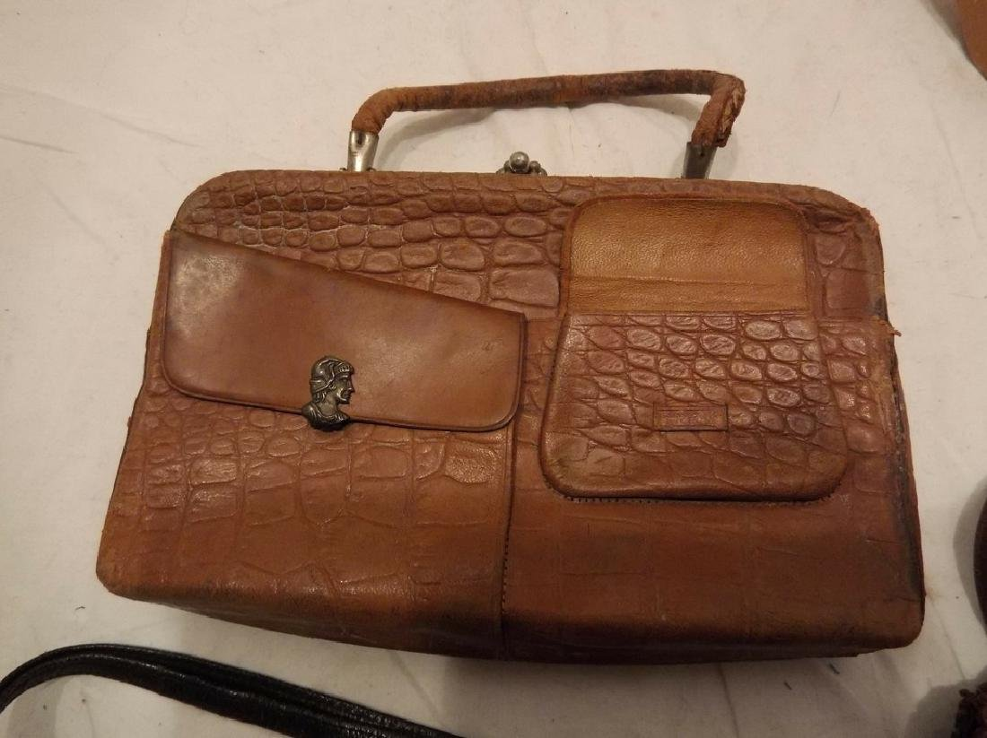 lot of Early Leather Purses/Hand Bags/Pocket Books - 2