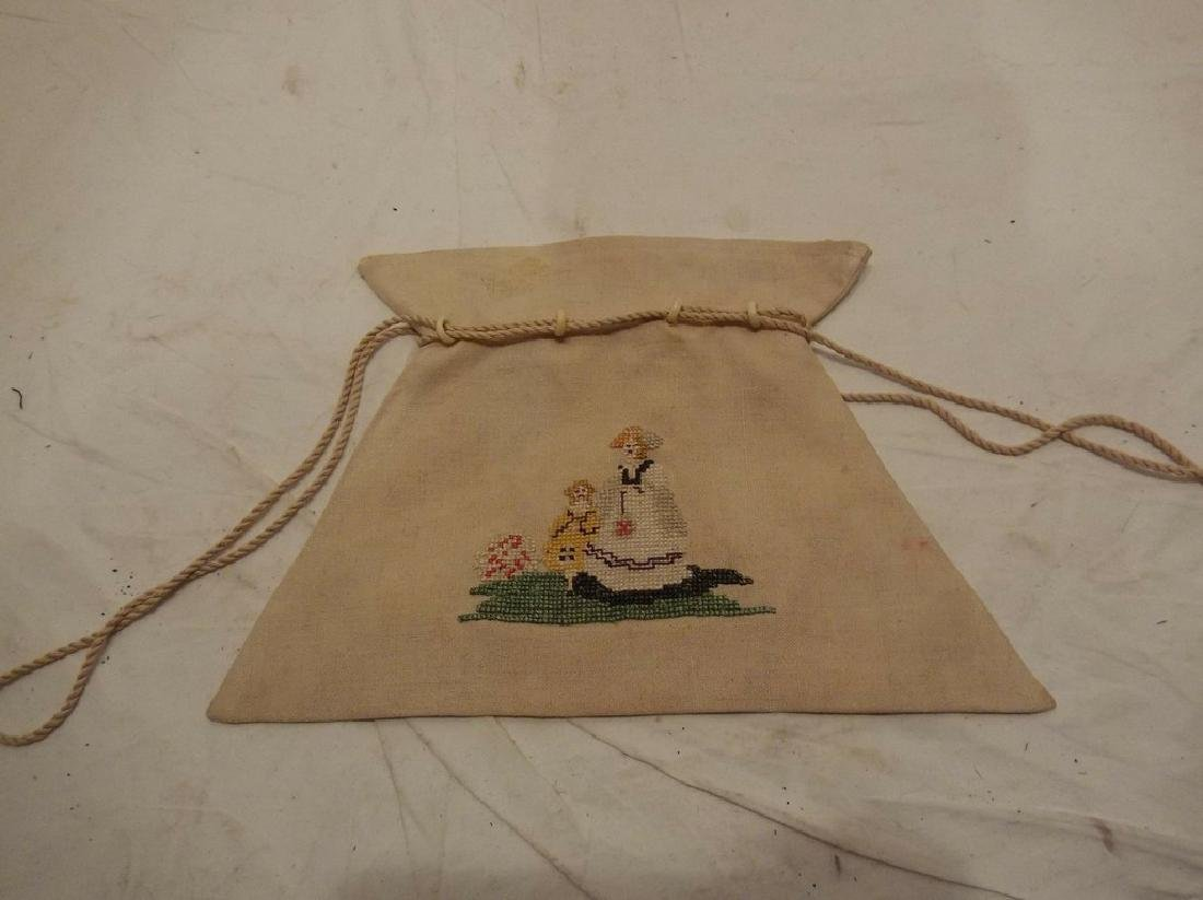Petit Point Embroidered Linen Draw String Bag with Bone