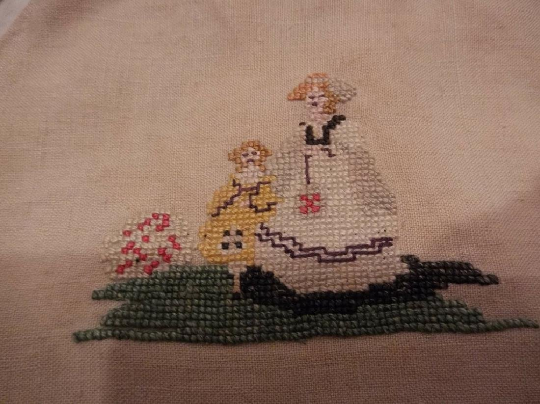 Petit Point Embroidered Linen Draw String Bag with Bone - 2