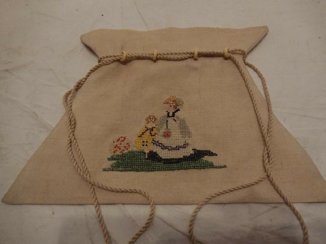 Petit Point Embroidered Linen Draw String Bag with Bone - 3