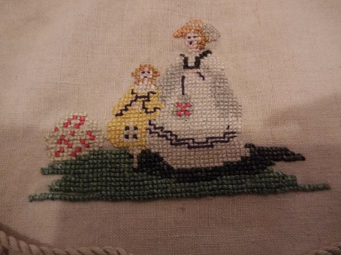 Petit Point Embroidered Linen Draw String Bag with Bone - 4