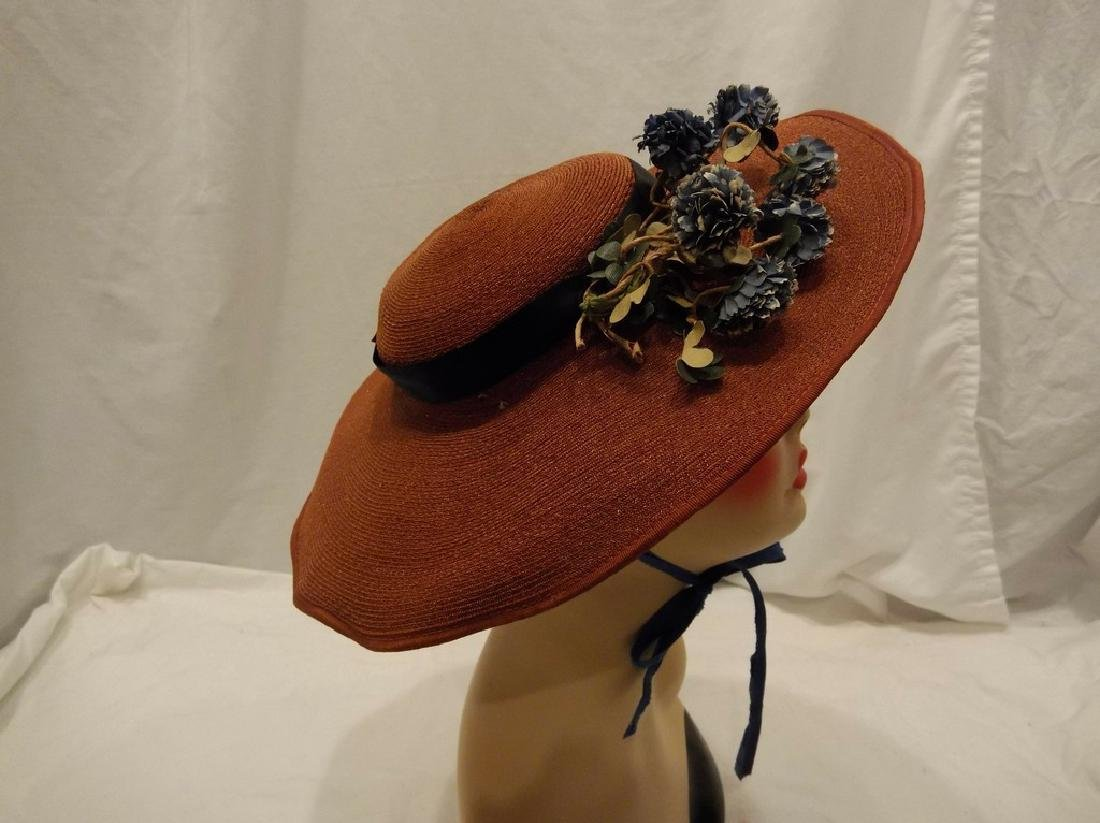 Vintage Ladies Straw Floral Hat with Wide Brim, circa