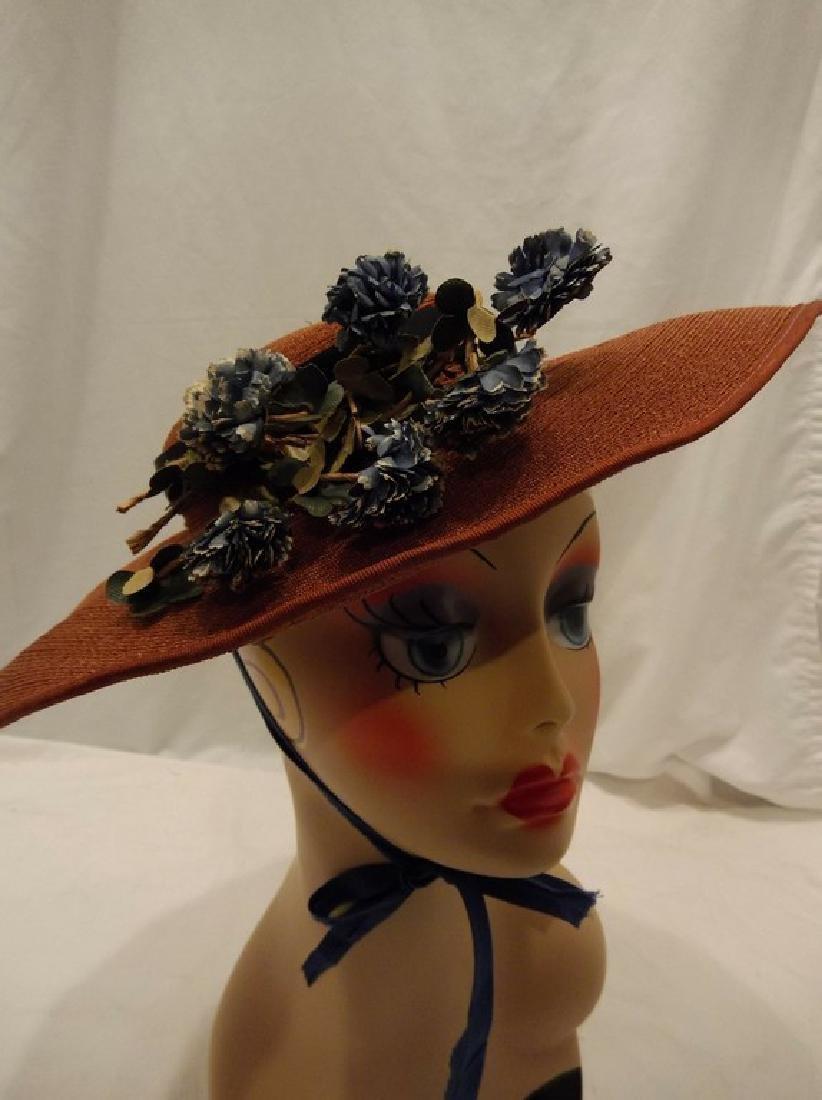 Vintage Ladies Straw Floral Hat with Wide Brim, circa - 2
