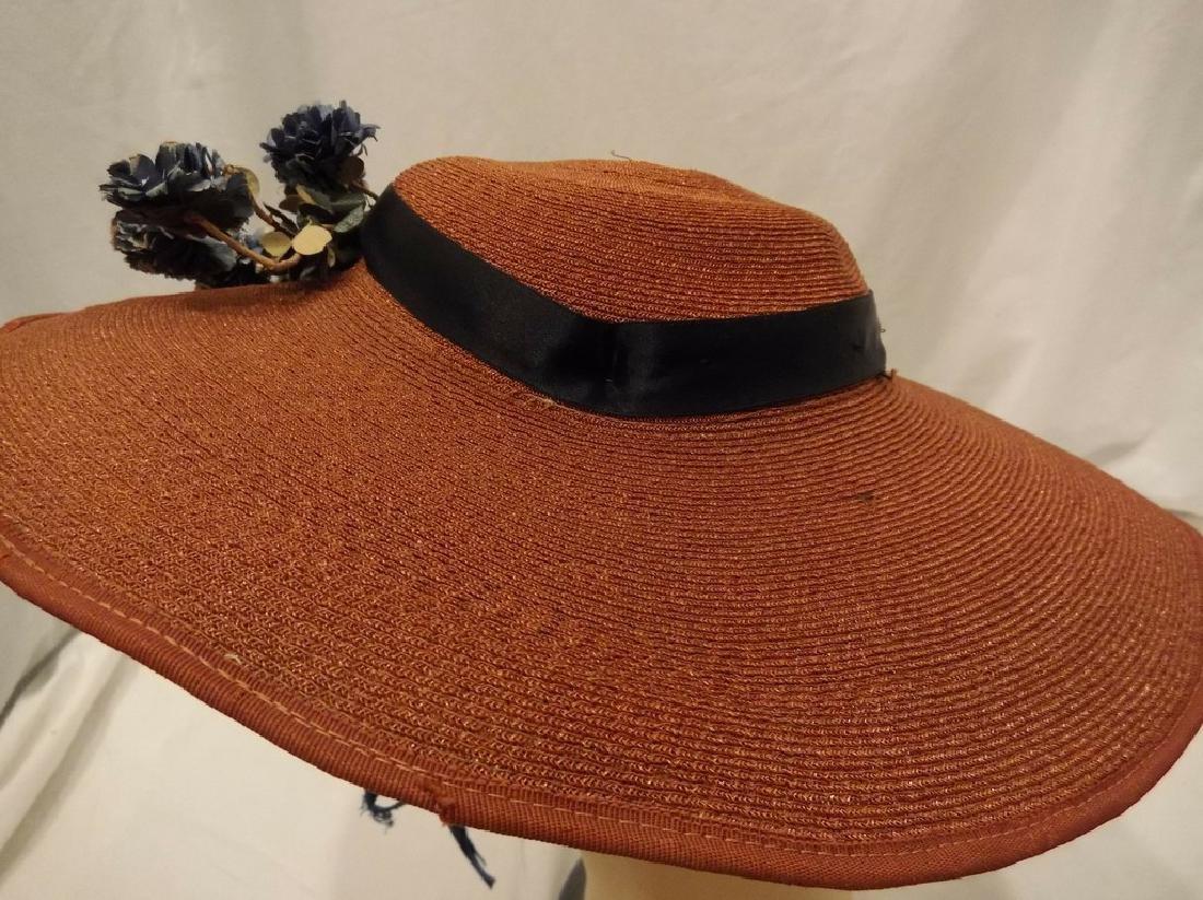 Vintage Ladies Straw Floral Hat with Wide Brim, circa - 3