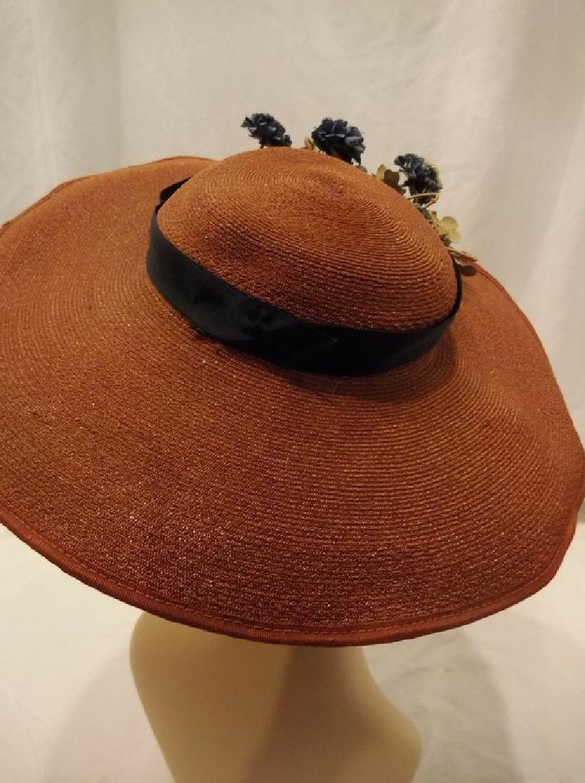 Vintage Ladies Straw Floral Hat with Wide Brim, circa - 4