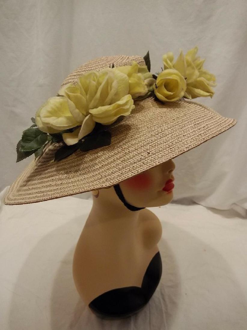 Wide Brim Ladies Vintage Floral & Straw Hat circa