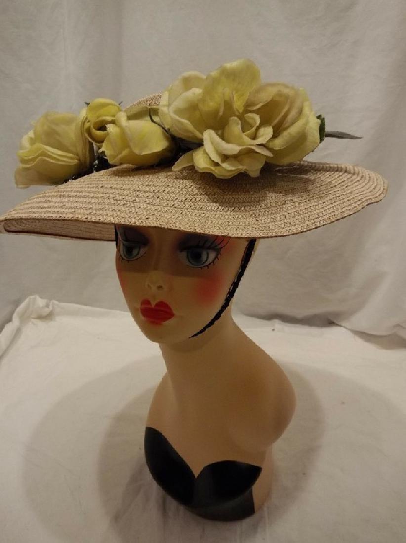 Wide Brim Ladies Vintage Floral & Straw Hat circa - 2