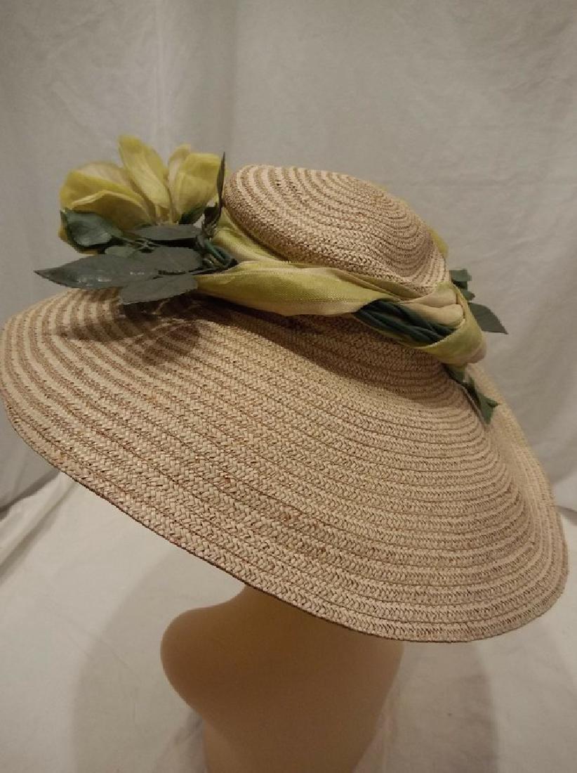 Wide Brim Ladies Vintage Floral & Straw Hat circa - 3