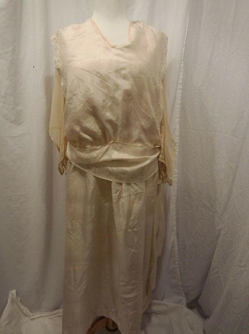 Circa 1910/20 White Silk Wedding Dress with Embroidery
