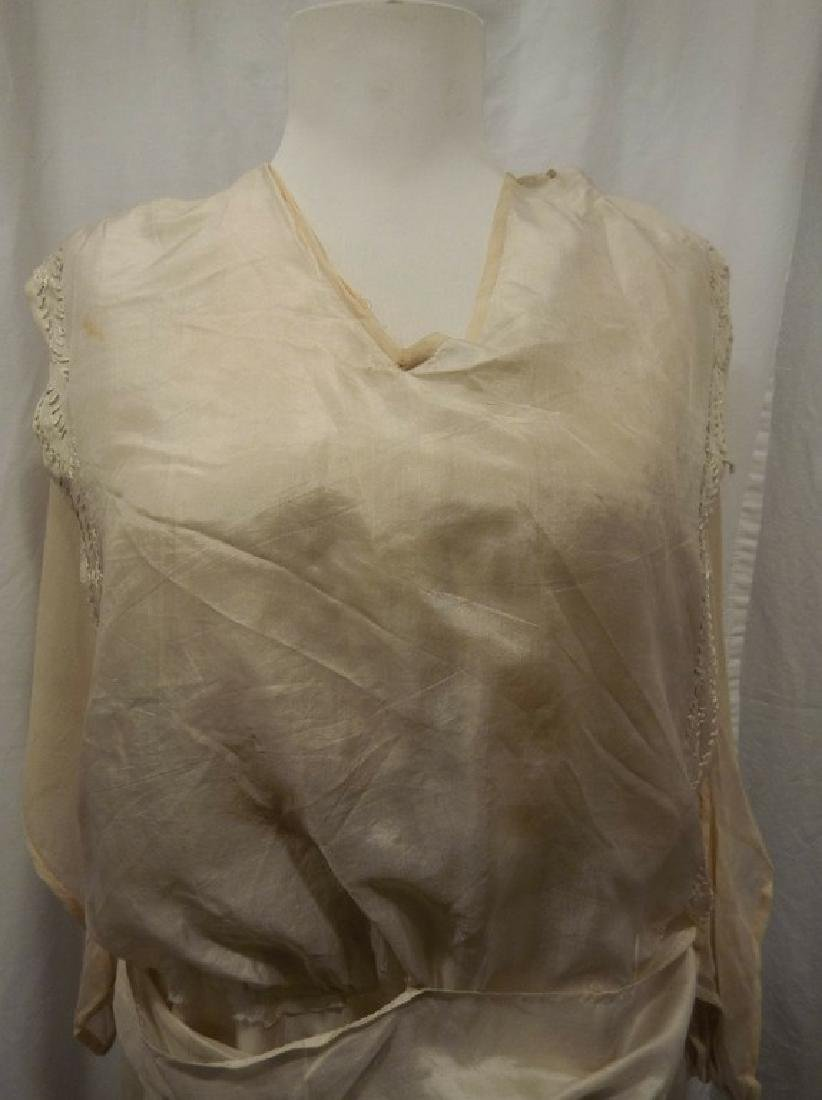 Circa 1910/20 White Silk Wedding Dress with Embroidery - 2