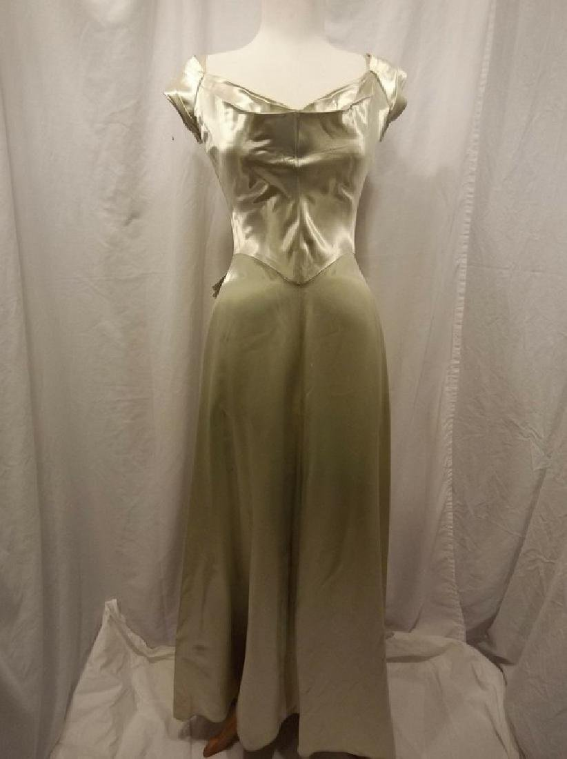 1930 Pale Green Satin Gown with Sweet Heart Bodice