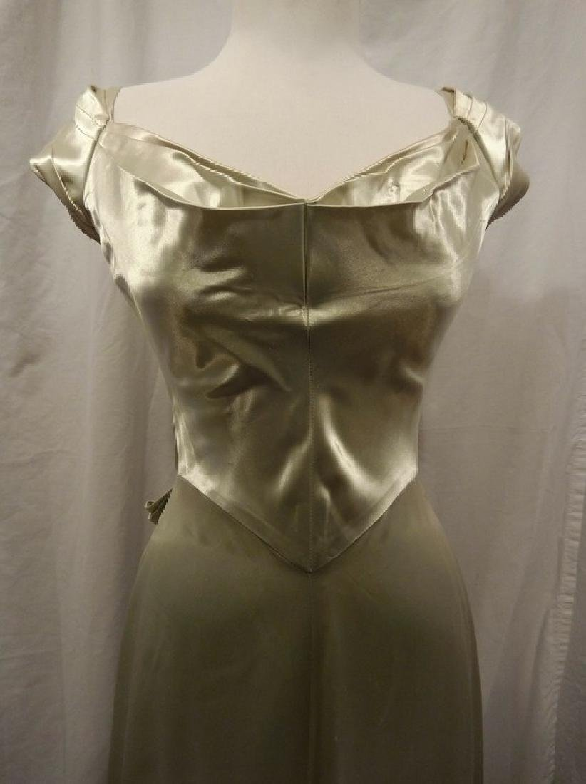 1930 Pale Green Satin Gown with Sweet Heart Bodice - 2