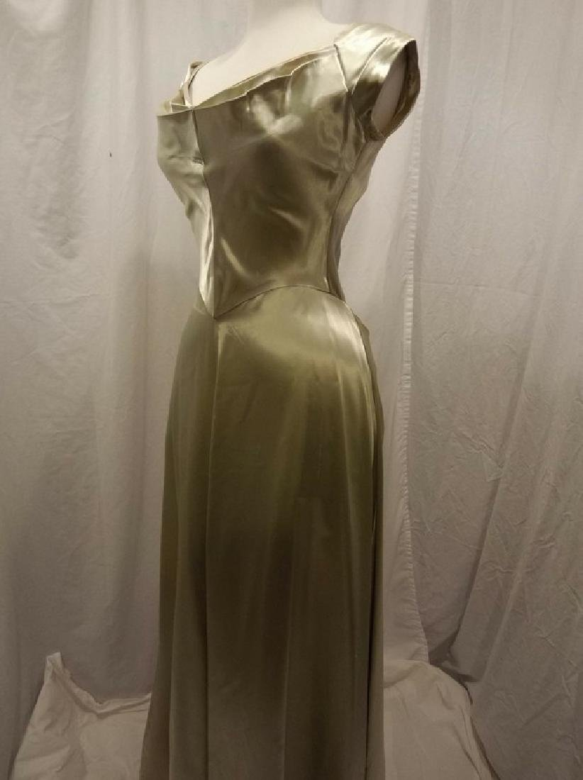 1930 Pale Green Satin Gown with Sweet Heart Bodice - 4