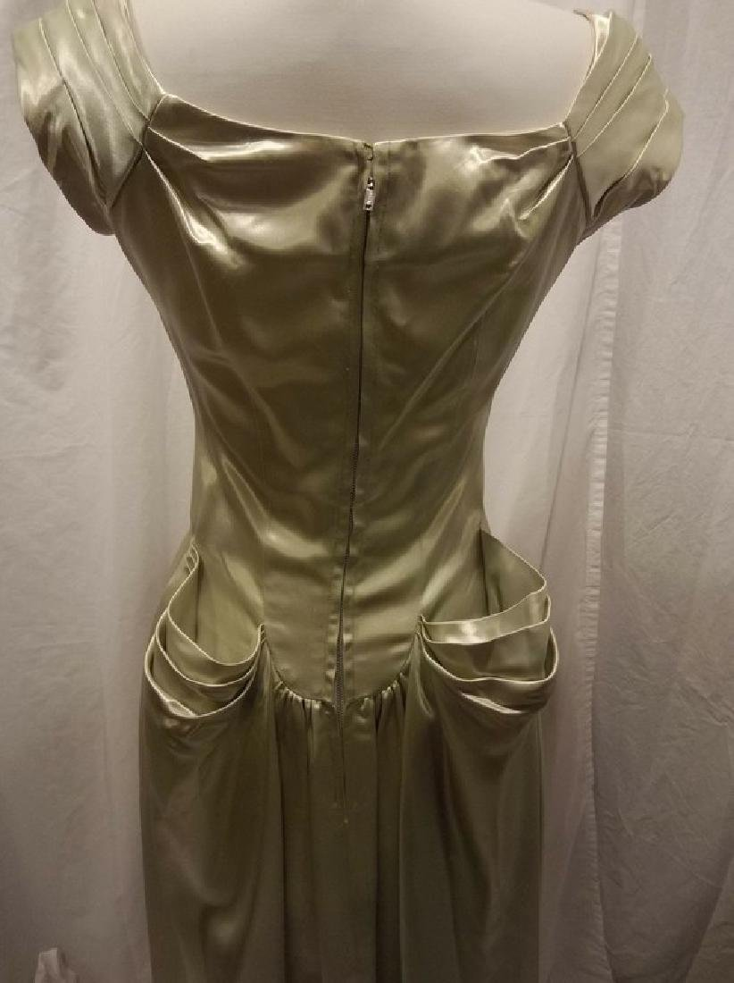 1930 Pale Green Satin Gown with Sweet Heart Bodice - 6