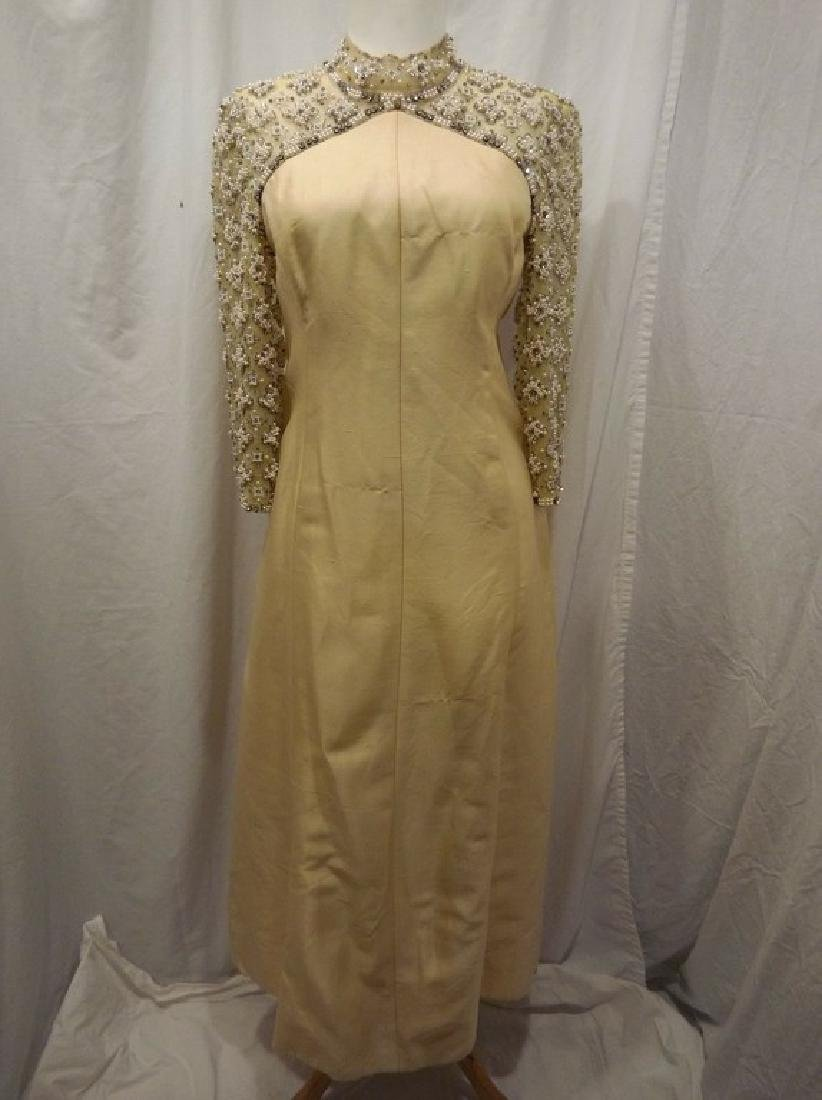 1960's Raw Silk & Beaded Pale Yellow Gown by Monet