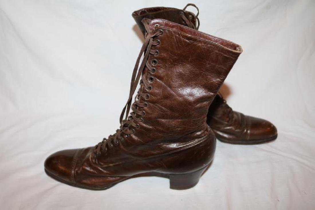 Victorian Ladies Tie up Brown Leather Boots, Cantilever