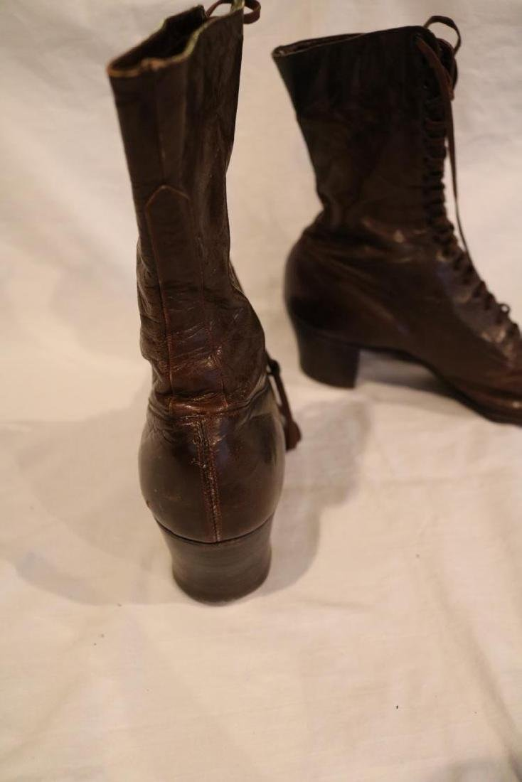Victorian Ladies Tie up Brown Leather Boots, Cantilever - 3