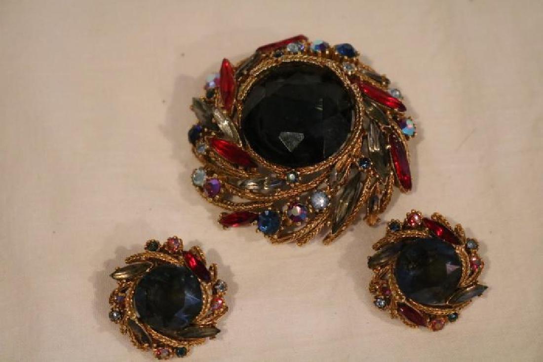 Brooch & Earring set, multi color stones marked Art Co.
