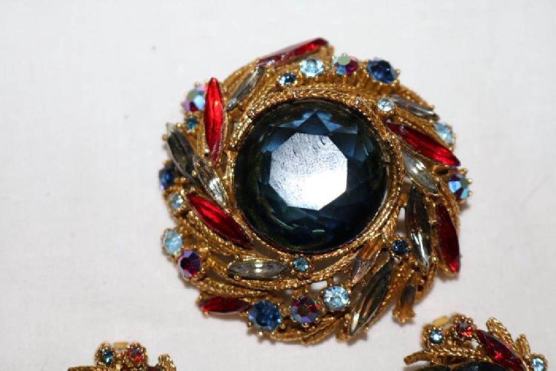 Brooch & Earring set, multi color stones marked Art Co. - 2