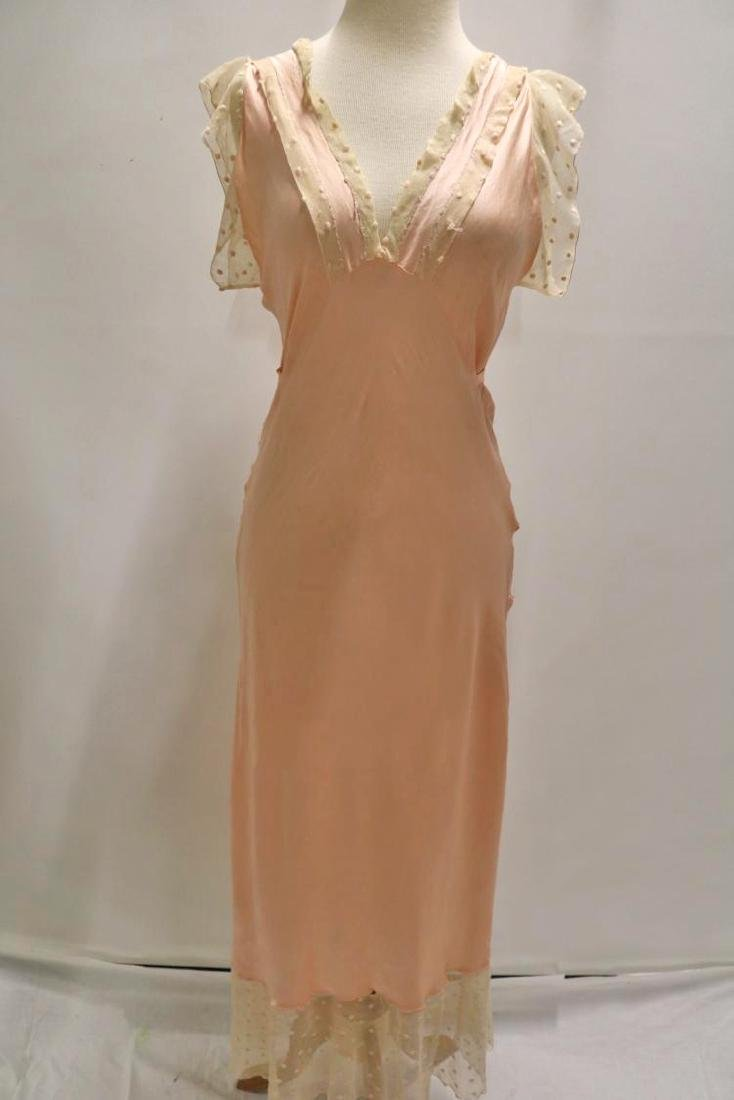 vintage 1930's silk negligee nightgown peach lace - 2