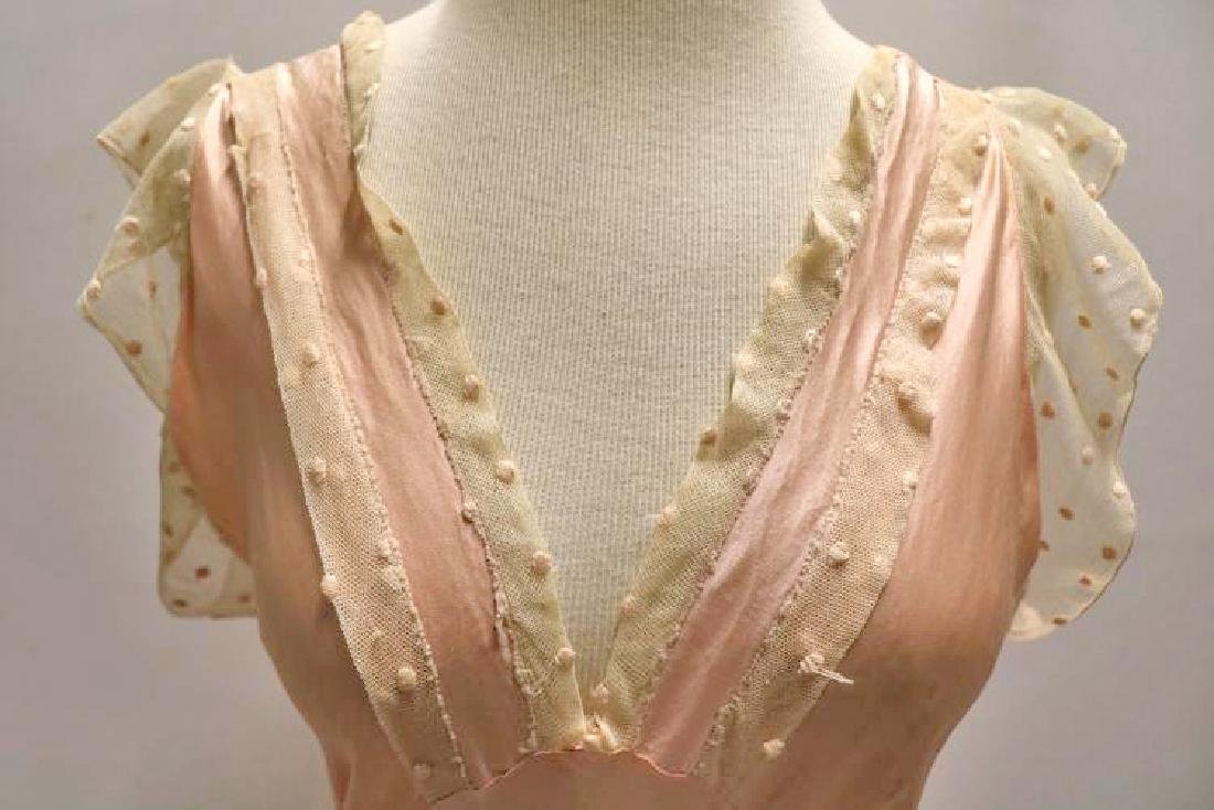 vintage 1930's silk negligee nightgown peach lace - 3